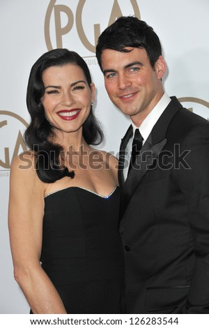 Julianna Margulies & husband Keith Lieberthal at the 2013 Producers Guild Awards at the Beverly Hilton Hotel. January 26, 2013  Los Angeles, CA Picture: Paul Smith - stock photo