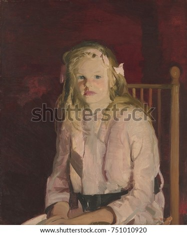 JULIE HUDSON, by George Bellows, 1914, American painting, oil on hardboard. Modernist painterly portrait of a girl in a style reminiscent of Manet