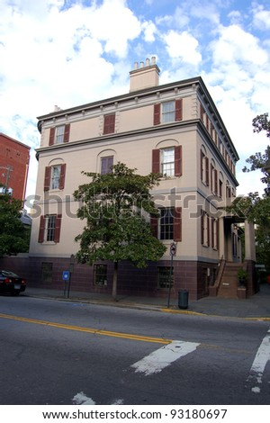 Juliette Gordon Low birthplace in Savannah, GA.  Low was a founder of the Girl Scouts of America. The building was Savannah's first National Historic Landmark and is now a museum.