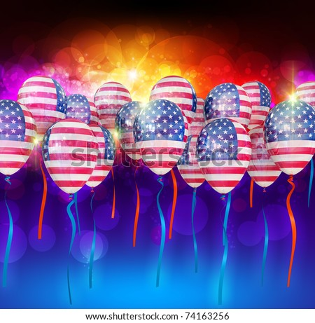 July 4 Balloons in the national colors of the USA flag