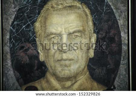 JULY 10, 2007 - BERLIN: the official portrait painting of former Chancellor Gerhard Schröder(by Jörg Immendorff) - official presentation of the portrait painting in the Chanclery in Berlin.