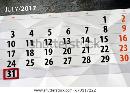 july 31 calendar Stock photo ©