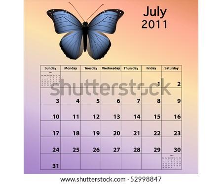 2011 Calendar July. stock photo : July 2011
