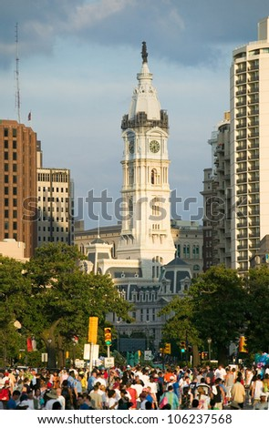 JULY 2005 - City Hall with Statue of William Penn on top, Philadelphia, Pennsylvania during Live 8 Concert