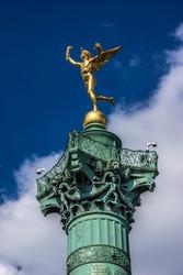July Column (1840) on Bastille Square. Place de la Bastille is a square in Paris, where the Bastille prison stood until the