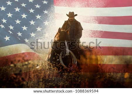 July Fourth cowboy portrait #1088369594