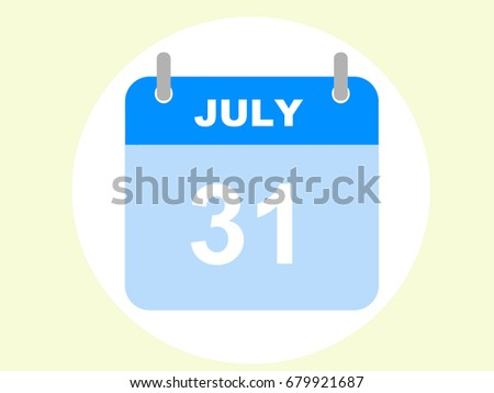 July 31, 2017. July calendar icon in the circcle. Stock photo ©