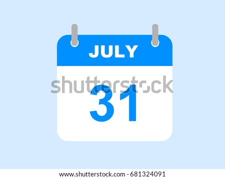 July 31, 2017. July calendar icon on the blue background. Stock photo ©