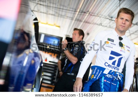 July 28, 2018 - Long Pond, Pennsylvania, USA: Jamie McMurray (1) gets ready to practice for the Gander Outdoors 400 at Pocono Raceway in Long Pond, Pennsylvania. #1146389657
