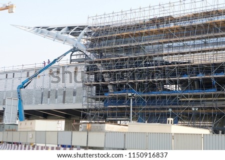 July 2018: New Dubai metro rail system under construction. This metro extension starts at Nakheel Harbour station going towards to Dubai EXPO 2020 site.