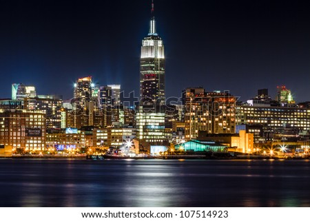 July 2012. Night view of Empire State Building and Midtown Manhattan skyline across the Hudson River from Hoboken, NJ.