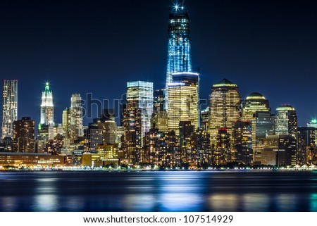 July 2012. Night view of the Freedom Tower and Downtown Manhattan skyline across the Hudson River from Hoboken, NJ.