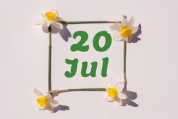 July 20th. Day 20 of the month, calendar date. Frame from flowers of a narcissus on a light background, pattern. View from above. Summer month, day of the year concept.