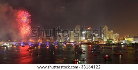 July 4th, 2009 fireworks, downtown Miami Florida USA