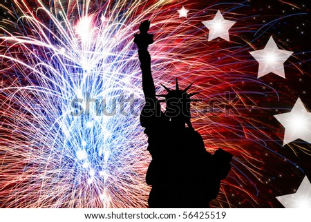 fourth of july fireworks background. July 4th Fireworks, Statue