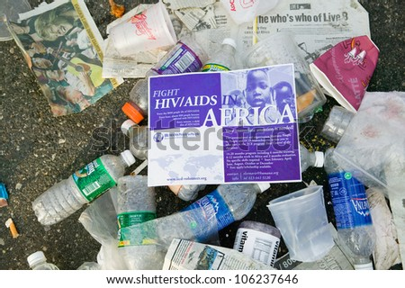 JULY 2005 - Trash from Live 8 Philadelphia Concert to promote African causes - stock photo