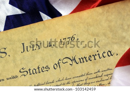July 4, 1776 - United States of America Constitution and USA Flag