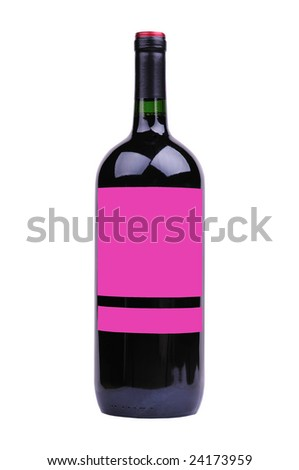 jumbo bottle of red wine with blank label isolated on white