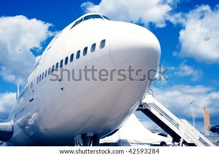 Jumbo jet stop in airport