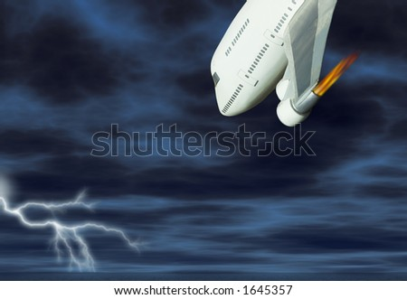 Jumbo jet with engine on fire about to crash and burn