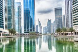 Jumeirah Lake Towers area in Dubai, United Arab Emirates
