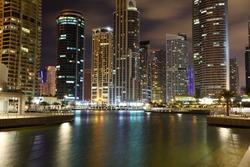 Jumeirah Lakes Towers at night. Dubai, United Arab Emirates
