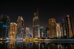 Jumeirah Lakes Towers night view in Dubai, United Arab Emirates, Dubai, skyscrapers
