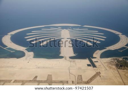 Jumeirah Palm Island Development In Dubai - stock photo
