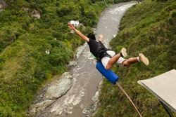 jump bungee travel excited enthusiasm bridge adrenalin ecuador waterfall extreme bungee jumping sequence in banos de agua santa claus ecuador san francisco bridge jump bungee travel excited enthusiasm