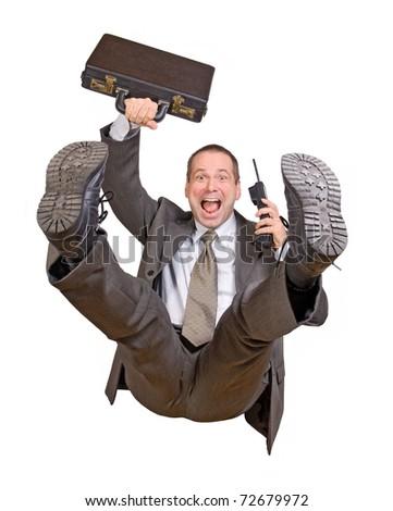 jump businessman with telephone