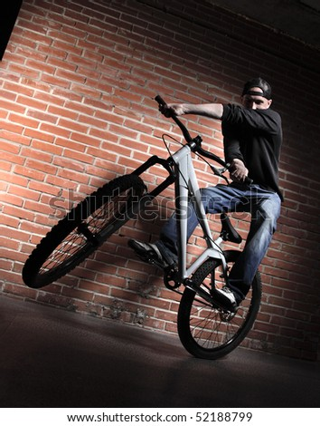 jump on BMX bicycle