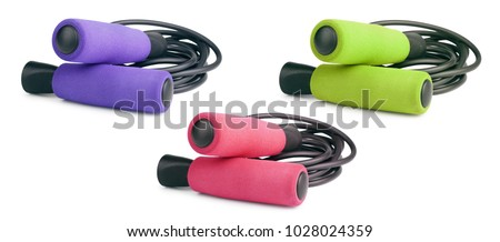 Jump rope or skipping rope isolated on white background. Sports, fitness, cardio, martial art and boxing accessories. Collection. #1028024359