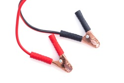 Jump start with crocodile clip or Need stylish wire clamps for recharge the battery car with isolated on a white background. File includes a clipping path. Top view