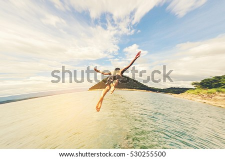 Jumping and flying freely ,fly freely to ocean #530255500