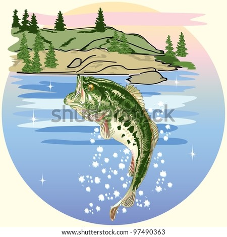 Jumping Bass in the Lake