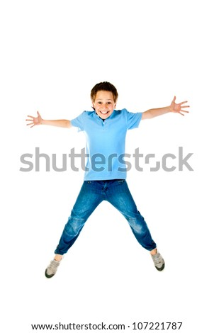 jumping boy isolated on a white background