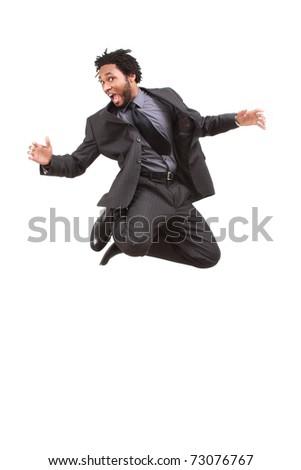 Jumping businessman - stock photo
