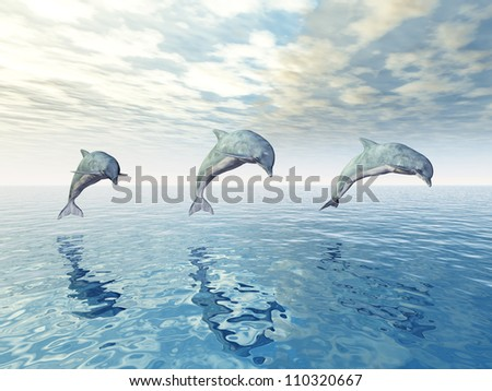Jumping Dolphins Computer generated 3D illustration