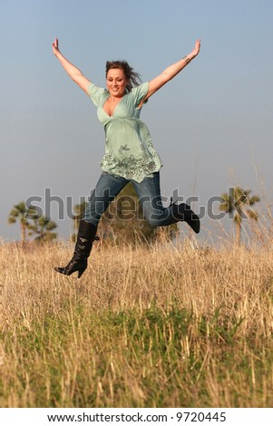 jumping girl  autumn jeans