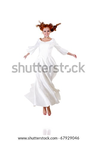 jumping happy bride isolated on white