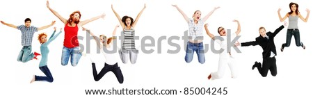 Jumping happy people, isolated on white background