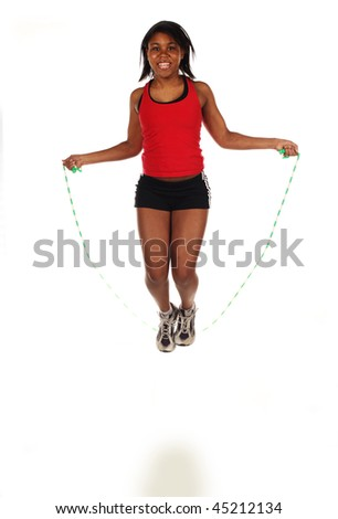 Jumping Rope. A small amount of motion blur from the jump...