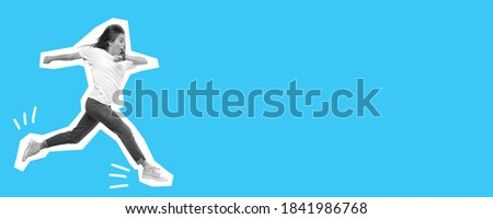 Jumping, running woman looks surprised. Collage in magazine style with bright blue background. Flyer with trendy colors, copyspace for ad. Discount, sales season, fashion and style concept.