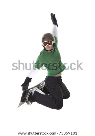 Jumping snowboarder isolated on white background
