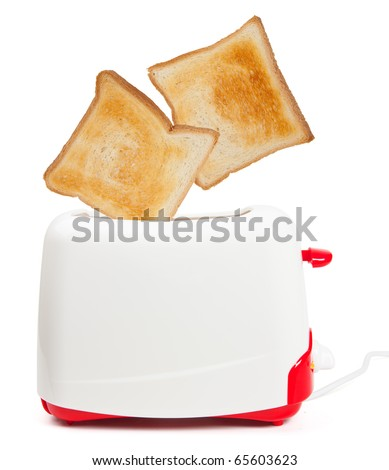 Jumping toasts - isolated over white
