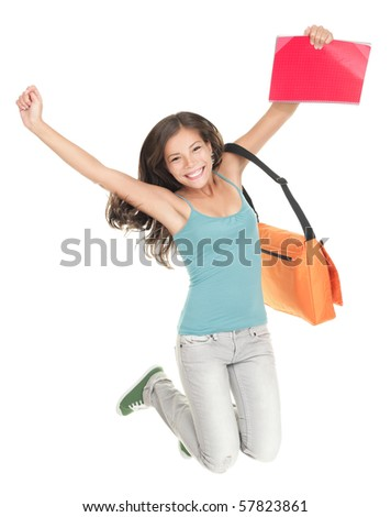 Jumping university student isolated on white background. Beautiful smiling mixed race caucasian / chinese young woman model
