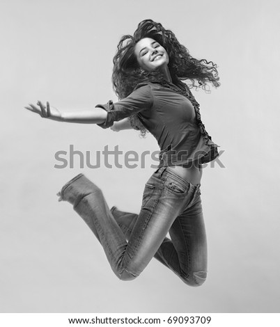 Jumping Woman. Black And White