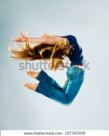 Jumping Woman on a light background