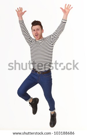 Jumping young man isolated on white background