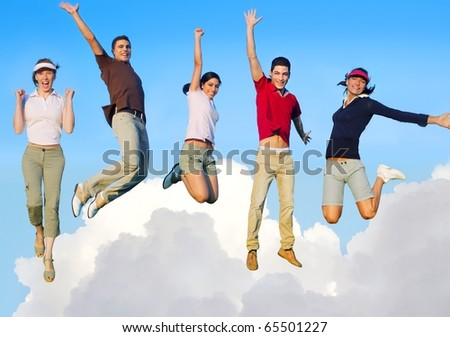 Jumping young people happy group flying in sky clouds [Photo Illustration]